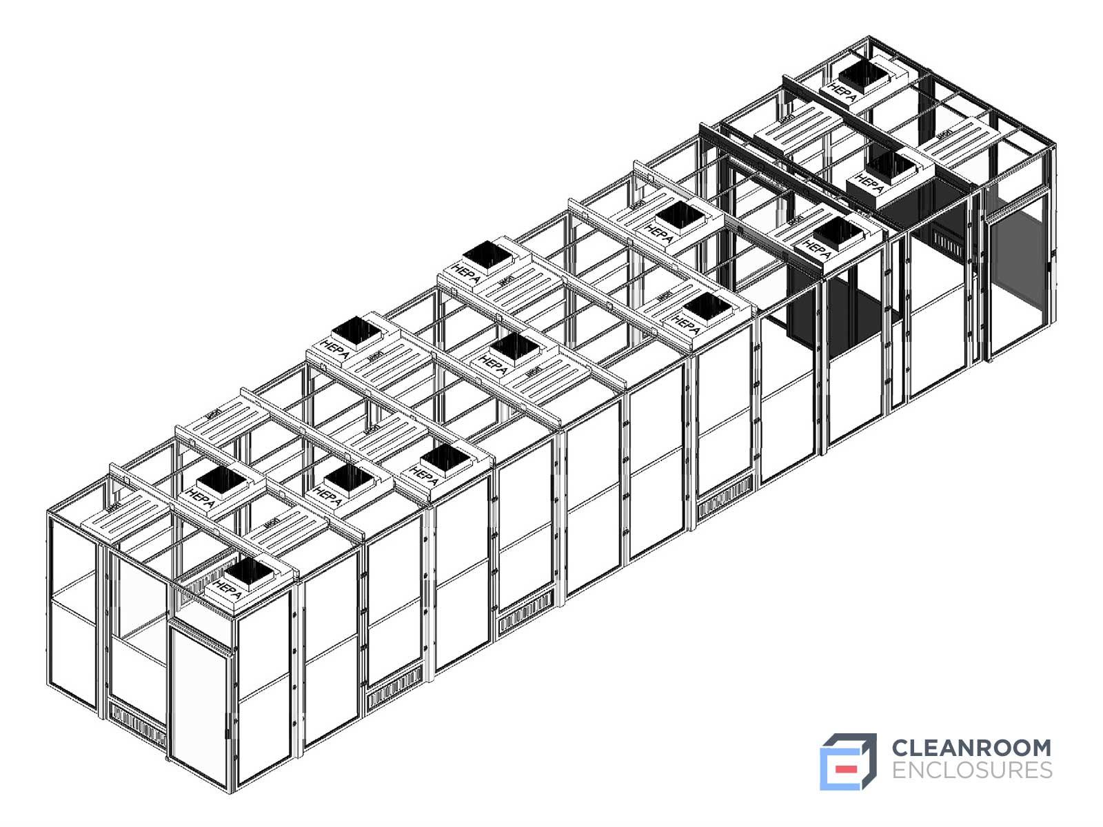 Horizontal Modular Cleanroom Diagram